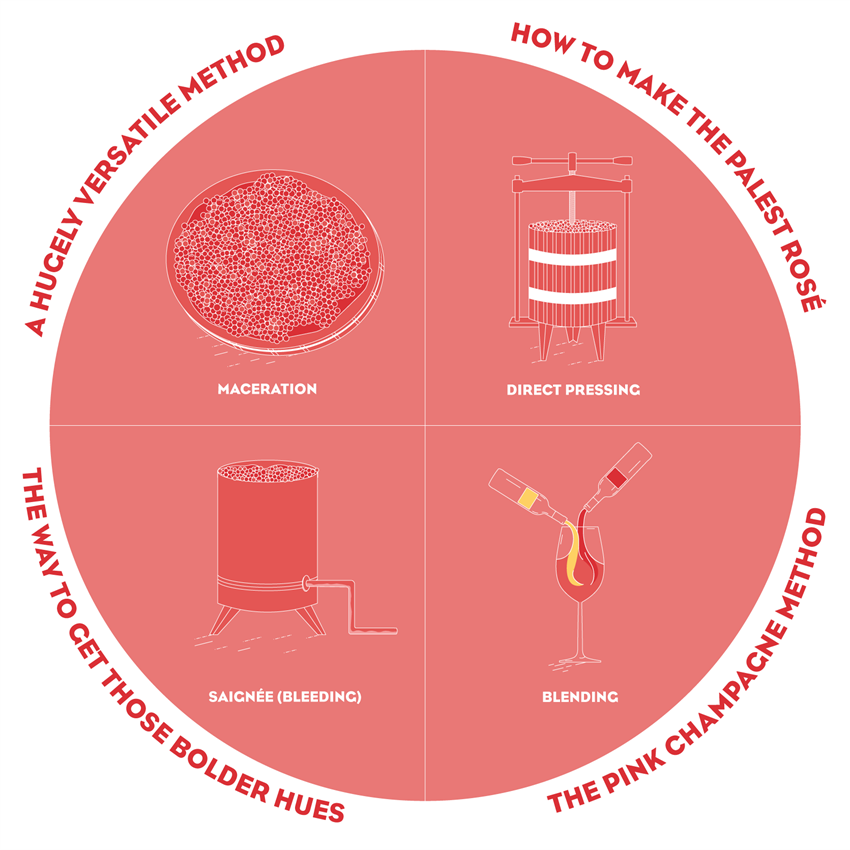 Making rosé - the four methods.